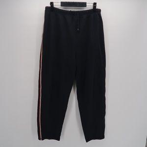 Erika Black Leggings White Red Side Striped Pants